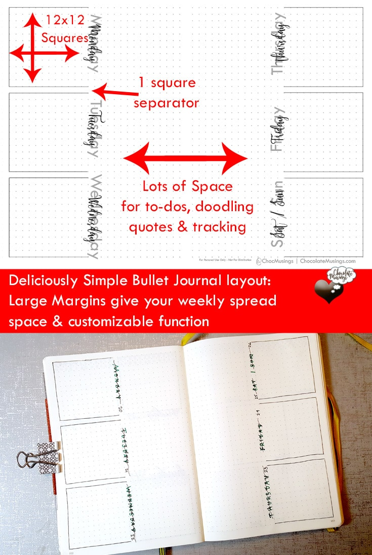 A Deliciously Simple Weekly Bullet Journal Spread Vertical Open Squared Planner Layout With